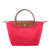 Longchamp 短提把小型水餃包-艷紅色