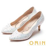 ORIN 晚宴婚嫁首選 不規則閃亮水鑽高跟鞋-白色