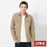 EDWIN 直線繡長袖襯衫-男-卡其色
