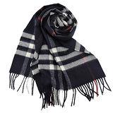 BURBERRY 經典格紋100% 喀什米爾羊毛圍巾(深藍)