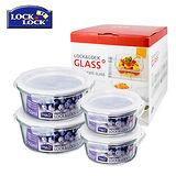 【樂扣樂扣】微波烤箱兩用 耐熱玻璃保鮮盒4入禮盒組(950ml*2+380ml*2)