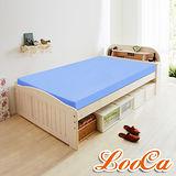【LooCa】吸濕排汗10cm舒壓平面記憶床墊-單人(藍)