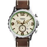FOSSIL 大世紀戰神三眼計時腕錶-米黃x咖啡/50mm JR1496