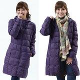 【遊遍天下】女款輕暖JIS90%長版防風防潑水保暖連帽羽絨外套A048深紫