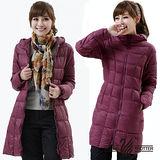 【遊遍天下】女款輕暖JIS90%長版防風防潑水保暖連帽羽絨外套A048紫紅