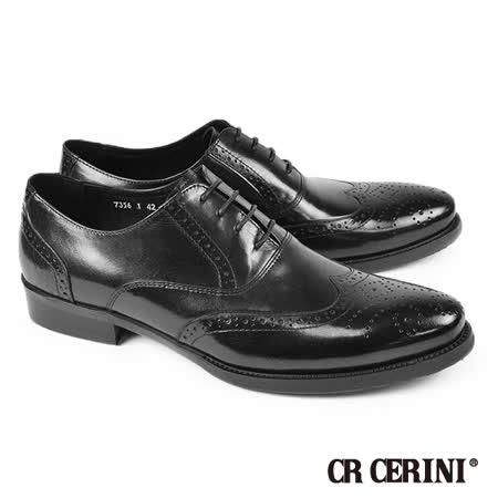 【CR CERINI】質感翼紋雕花牛津鞋 黑色(73561-BL) -friDay購物 x GoHappy