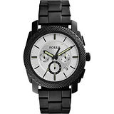 FOSSIL 領航者三眼計時腕錶-銀x黑/45mm FS5092