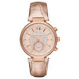 Michael Kors 懵懂高雅晶鑽計時腕錶-玫瑰金x皮帶