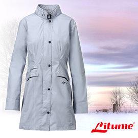 【意都美 Litume】女款 單件式輕量化防水長版風衣外套 灰藍 E8732