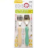(任選)【EDISON 阿卡將】日本製 幼童學習叉子湯匙組 餐具組 (米+綠)