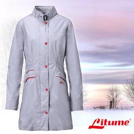 【意都美 Litume】女款 單件式輕量化防水長版風衣外套 淺灰 E87