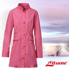 【意都美 Litume】女款 單件式輕量化防水長版風衣外套 桃紅 E8732
