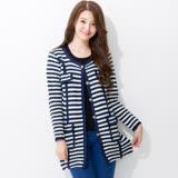 Wonderland 日韓最夯高質感針織外套(藍條紋)