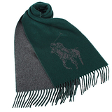 RALPH LAUREN POLO 大馬Logo雙色羊毛流蘇圍巾-綠色