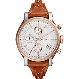 FOSSIL 雅典女仕時尚計時腕錶-玫瑰金框x棕/38mm ES3837