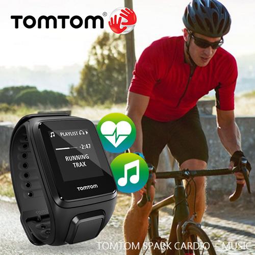 TOMTOM SPARK CARDIO + MUSIC 內建MP3 心率監測健身運動錶 (黑色寬錶帶)