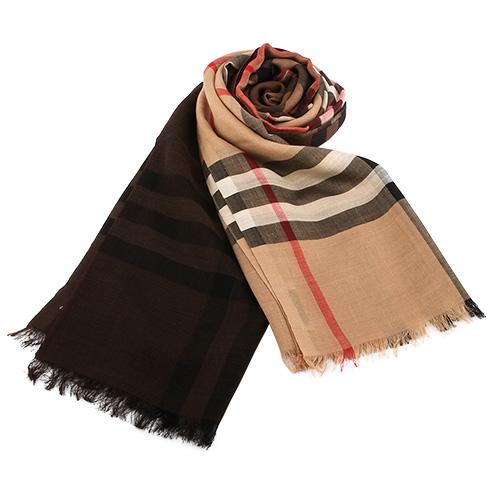 BURBERRY 英倫格紋漸層色羊毛絲綢圍巾/披肩-駝色