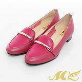 MK-臺灣製全真皮-素面金屬壓紋方跟樂福鞋-桃紅