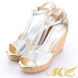 MK-臺灣製全真皮-金屬色T字繞踝楔型涼鞋-銀色