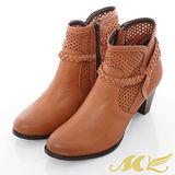 MK-臺灣製全真皮-縷空編織繞踝側拉鍊短靴-棕色