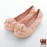 SM-全真皮-優雅花朵珠飾楔型娃娃鞋-粉橘