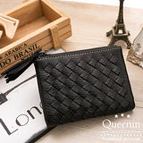 DF Queenin皮夾 - 個性女孩皮革編織款短夾-黑色