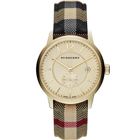 BURBERRY The Classic Round 英倫小秒針腕錶-金x格紋/40mm BU10001