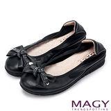 MAGY 清新氣質系女孩 牛皮蝴蝶結水鑽扭結娃娃鞋-黑色