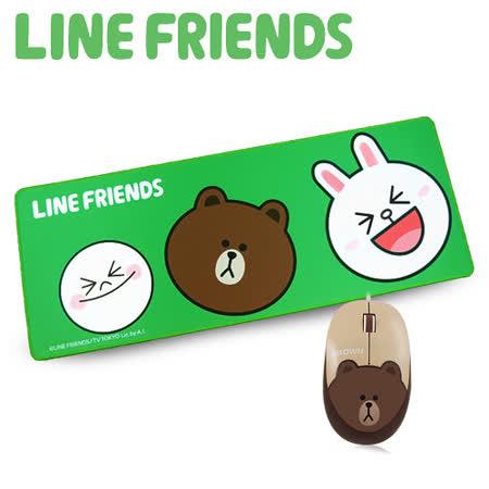 【優惠首選】LINE FRIENDS 經典人物滑鼠墊&熊大滑鼠禮盒組(LN-L04) -friDay購物 x GoHappy