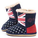 童鞋城堡-Roberta 中童 英倫風保暖雪靴615069-藍