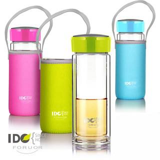 【法國FORUOR】IDO繽紛晶漾雙層玻璃隨手杯(附套) 300ML 2入組