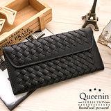 DF Queenin皮夾 - 個性女孩皮革編織款信封式長夾-黑色