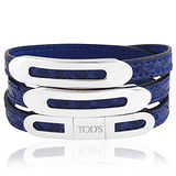 TODS 鱷魚紋真皮三環釦手環-寶藍色【M/L號】