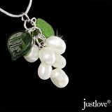 【justlove璀璨配飾】真珠珍珠葡萄百搭綠葉短項鍊鎖骨鍊(共2色 AB-0077)