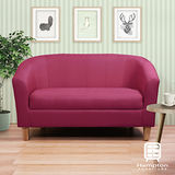 漢妮Hampton莫里斯布面雙人椅-紅色(原木色腳)/兩人座沙發/雙人沙發