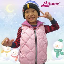 【意都美 Litume】兒童熱賣款 輕量防風防潑水保暖羽絨背心(雙面穿 刷毛+羽絨)/C256 粉紅