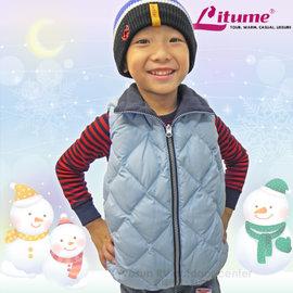 【意都美 Litume】兒童熱賣款 輕量防風防潑水保暖羽絨背心(雙面穿 刷毛+羽絨)/C256 水藍