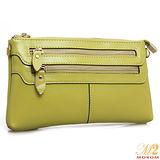 【MOROM】真皮時尚鍊帶多隔層二用包(檸檬黃)2610