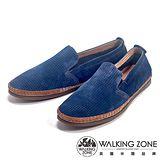 WALKING ZONE(男)透氣小洞設計直套懶人休閒鞋男鞋-藍