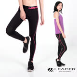 【Leader】女性專用 colorFit運動壓縮緊身褲(桃紅線條)