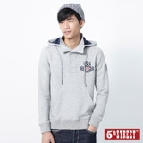 5th STREET 美式休閒連帽T恤-男-麻灰色