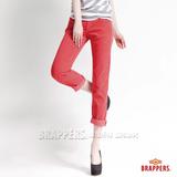 (女) BRAPPERS BoyFriendJeans系列-女款3D八分條絨反摺褲-橘紅
