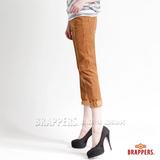 (女) BRAPPERS BoyFriendJeans系列-女款3D八分條絨反摺褲-土黃