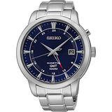 SEIKO Kinetic 雙時區簡約時尚腕錶-藍/44mm 5M85-0AC0B(SUN031P1)