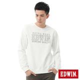 EDWIN 剪接LOGO長袖T恤-男-米白色