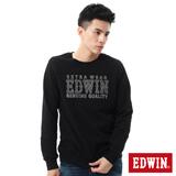 EDWIN 剪接LOGO長袖T恤-男-黑色