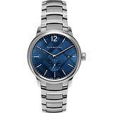 BURBERRY The Classic Round 英倫小秒針腕錶-藍x銀/40mm BU10007
