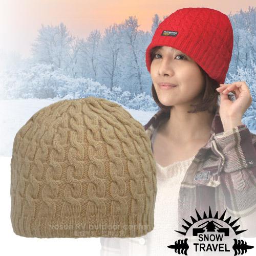 台灣製造【SNOW TRAVEL】3M Thinsulate 頂級素面麻花彈性保暖羊毛帽.毛線帽 AR-18 卡其