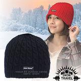 台灣製造【SNOW TRAVEL】3M Thinsulate 頂級素面麻花彈性保暖羊毛帽.毛線帽 AR-18 黑