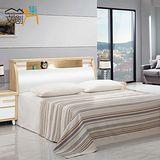 【文創集】克莉絲 5尺橡木色雙人床三件式組合(床頭片+床台+床墊)